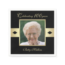 100th Birthday Party Photo on Black Paper Paper Napkin