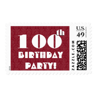 100th Birthday Party Red and White Postage Stamp