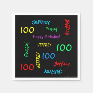 100th Birthday Party Repeat Name Black Paper Paper Napkin