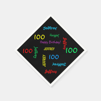 100th Birthday Party Repeating Names Black Paper Paper Napkin
