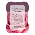 100th Birthday Party Rose Beauty Card