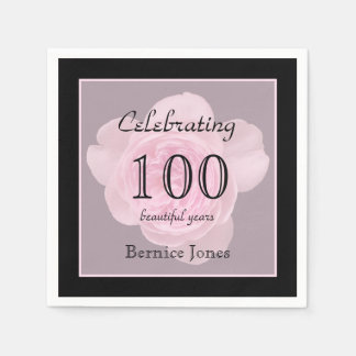 100th Birthday Party Rose Paper Napkins Standard Cocktail Napkin