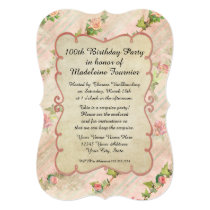 100th Birthday Party Scroll Frame w Vintage Roses Invitation