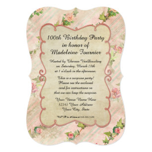 100th Birthday Invitations Announcements Zazzle