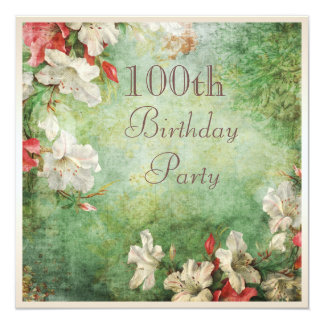 100th Birthday Party Shabby Chic Hibiscus Flowers 5.25x5.25 Square Paper Invitation Card