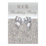 100th Birthday Party Silver Sequins, Bow & Diamond 5x7 Paper Invitation Card