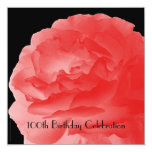 100th Birthday Party Square Invitation Coral Rose