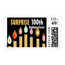 100th Birthday Party Stamp - GOLD Candles