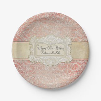 100th Birthday Party Vintage French Regency Lace 7 Inch Paper Plate