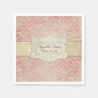 100th Birthday Party Vintage French Regency Lace Standard Cocktail Napkin