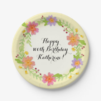 100th Birthday Party Watercolor Modern Floral Paper Plate