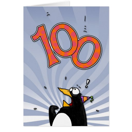 100th Birthday - Penguin Surprise Card
