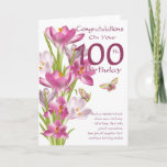 "100th Birthday Pink Crocus And Butterfly Card<br><div class=""desc"">Birthday Greeting Card With Pink Crocus And Butterflies,  Nice wording on the front to give a smile on their special day. With thanks to digital designs by elena</div>"