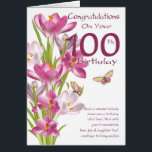 """100th Birthday Pink Crocus And Butterfly Card<br><div class=""""desc"""">Birthday Greeting Card With Pink Crocus And Butterflies,  Nice wording on the front to give a smile on their special day. With thanks to digital designs by elena</div>"""