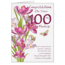 100th Birthday Pink Crocus And Butterfly Card