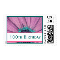 100th Birthday Pink Daisy Party Invitation Stamp