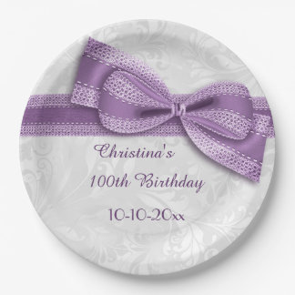 100th Birthday Purple Damask and Faux Bow Paper Plate