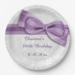 100th Birthday Purple Damask and Faux Bow 9 Inch Paper Plate
