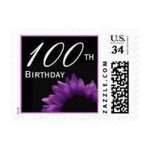 100th Birthday Purple Flower Petals V01 Postage
