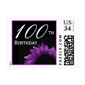 100th Birthday Purple Flower Petals V01 Postage