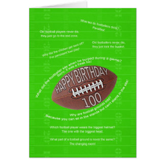 100th birthday, really bad football jokes greeting card
