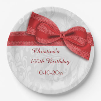 100th Birthday Red Damask and Faux Bow Paper Plate