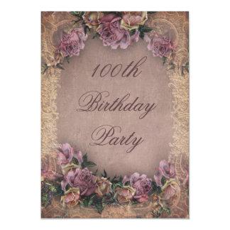 100th Birthday Romantic Vintage Roses and Lace Card