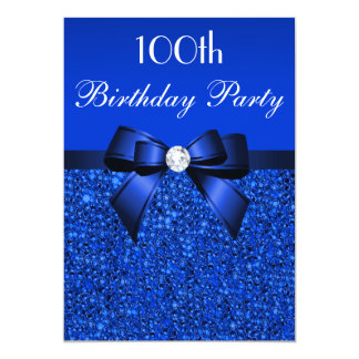 100th Birthday Royal Blue Sequins Bow and Diamond Card