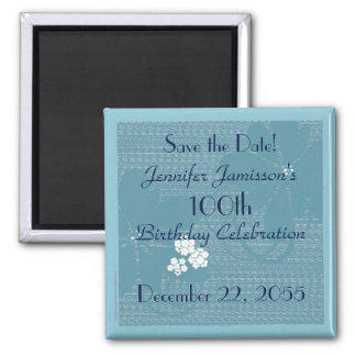 100th Birthday Save the Date Blue Floral Magnet