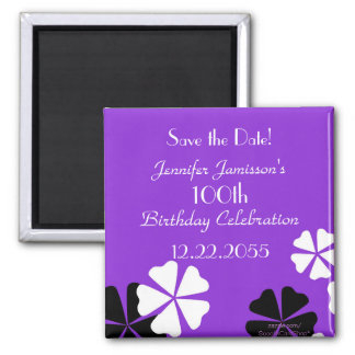 100th Birthday Save the Date Purple Floral Magnet