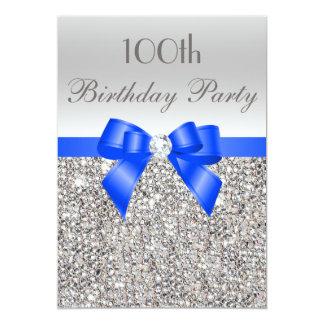 100th Birthday Silver Sequin Royal Bow Diamond Card