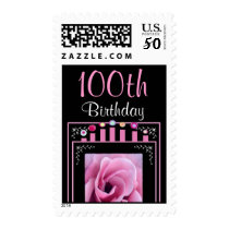 100th Birthday Stamp with Pink Rose & Candles