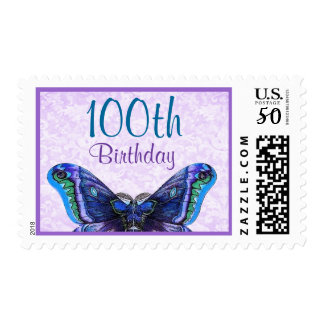 100th Birthday Stamp with Purple Butterfly V2