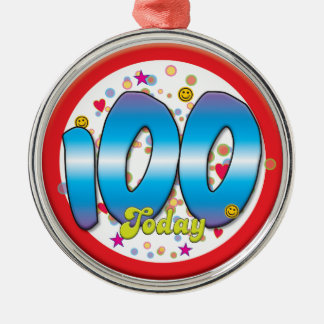 100th Birthday Today Silver-Colored Round Decoration