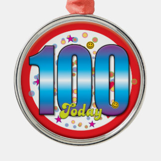 100th Birthday Today v2 Silver-Colored Round Decoration