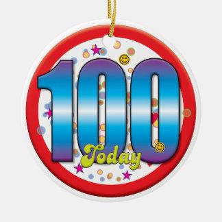 100th Birthday Today v2 Round Ceramic Decoration