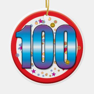 100th Birthday v2 Round Ceramic Decoration