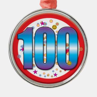 100th Birthday v2 Silver-Colored Round Decoration