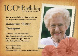 100th birthday invitations zazzle 100th birthday vintage daisy photo invitations filmwisefo
