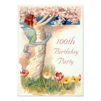 100th Birthday Vintage Fairy Blossom Card