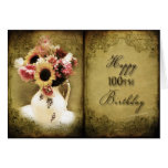 100TH BIRTHDAY - VINTAGE FLORAL BOOK CARDS