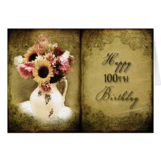 100TH BIRTHDAY - VINTAGE FLORAL BOOK GREETING CARD
