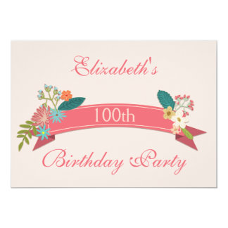 100th Birthday Vintage Flowers Pink Banner 5x7 Paper Invitation Card
