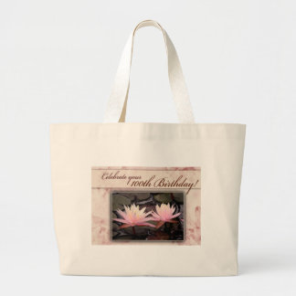 100th Birthday Water Lily Celebration Large Tote Bag