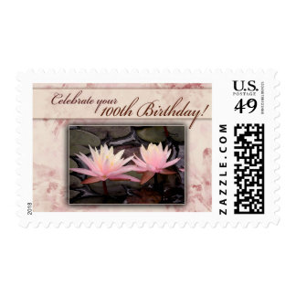 100th Birthday Water Lily Celebration Postage Stamp
