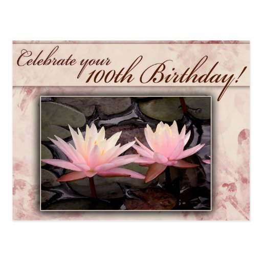 100th Birthday Water Lily Celebration Postcard