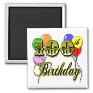 100th Birthday with Balloons Magnet