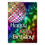 100th birthday with disco ball and rainbow of star greeting cards