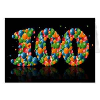 100th birthday with numbers formed from balls greeting card