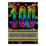 100th Birthday with rainbow bubbles and fireworks Greeting Card